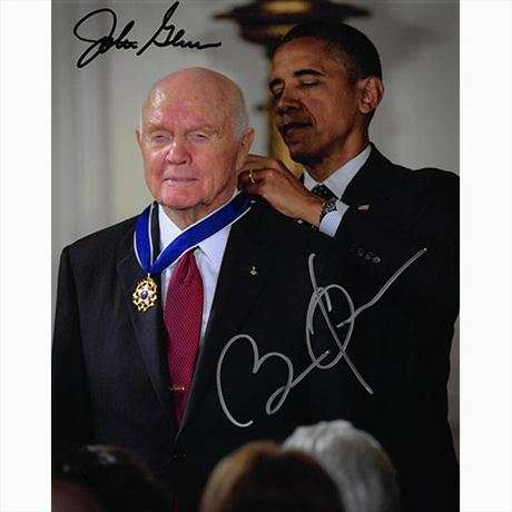 Barack Obama & John Glenn Autographed Photo - Cool!