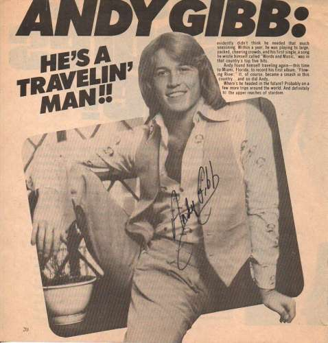 Andy Gibb (1958-1988) Extremely Rare Autographed 8x8 Magazine Photo - Wow!