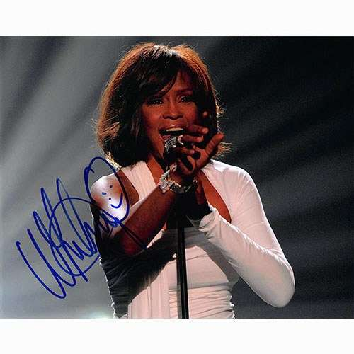 Whitney Houston (1963-2012) Awesome On-Stage Autographed Photo!