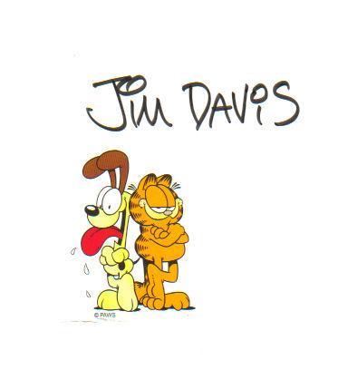 Jim Davis ('Garfield' Creator) Great Signed 4.5X6 Garfield Notesheet!