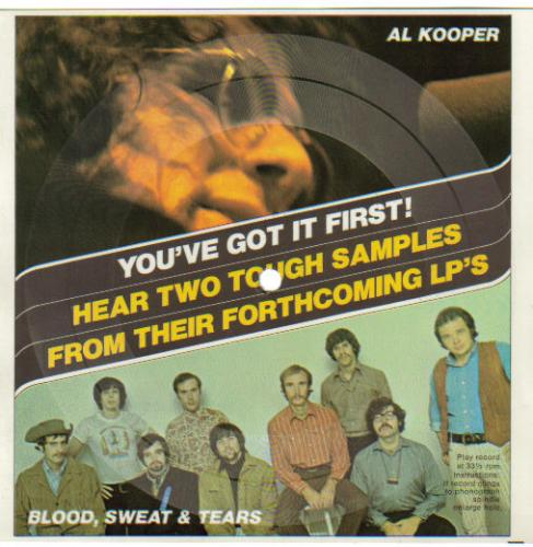 Blood, Sweat & Tears And Al Kooper Unsigned Promo Record Card!