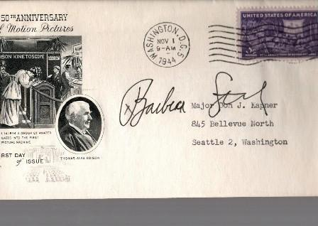 Barbra Streisand Autographed First Day Cover - Neat!