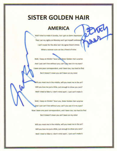 'America' Autographed 'Sister Golden Hair' Lyric Sheet!