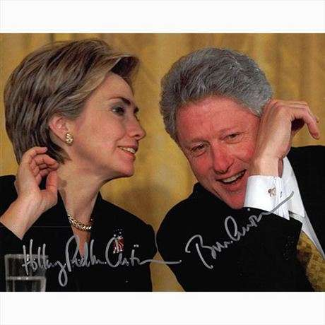 President Bill & Hillary Clinton Vintage Autographed Photo - Uncommon!