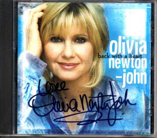 Olivia Newton John Autographed 'Back with a Heart' Autographed CD case with CD!