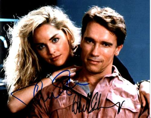 Arnold Schwarzenegger & Sharon Stone 'Total Recall' Signed Photo!