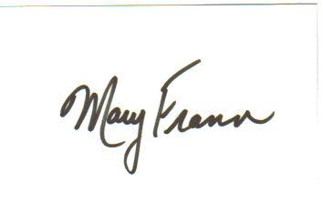 Mary Frann 'Newhart' Signed Index Card!