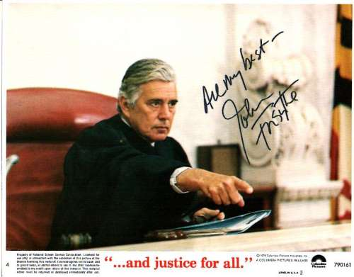 John Forsythe (1918-2010) Autographed Pic from 'And Justice for All'