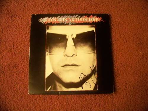 Elton John Autographed Vintage (1979) 'Victim of Love' Album Cover!